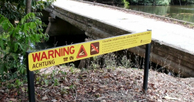 Crocodile warning sign